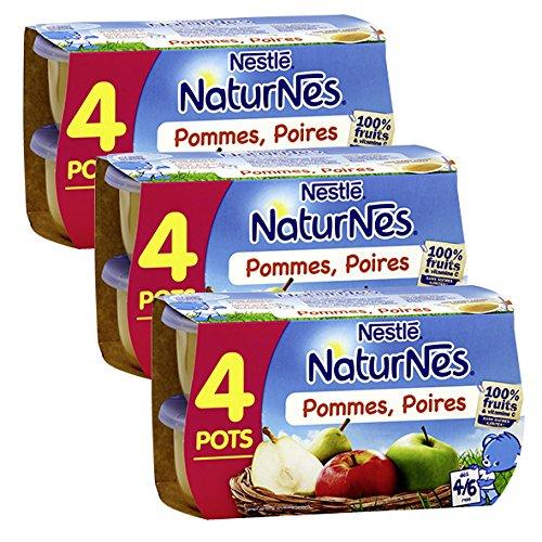 Bébé Nestlé Naturnes Pommes Poires - Compote bébé dès 4 Mois - 4 x 130 g - Lot de 3 (12 Pots)