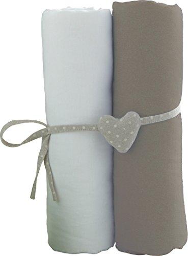 Babycalin Lot de 2 Draps Housse Blanc / Taupe 60 x 120 cm