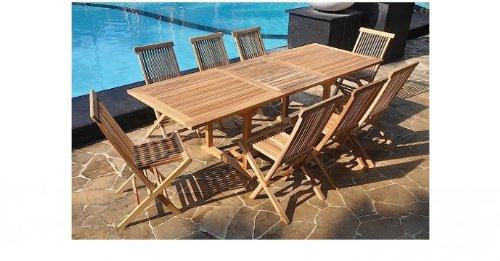 Le sorong salon de jardin en teck massif 10 12 personnes table rectangulaire et 8 chaises - Table jardin teck massif fort de france ...