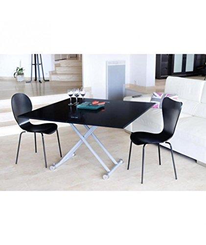 UPPER Table relevable et extensible mélamine noir