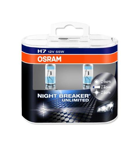 OSRAM NIGHT BREAKER UNLIMITED H7 Lampe automobile halogène  64210NBU-HCB +110% de lumière en plus et +20% de lumière plus blanche Quantité par 2