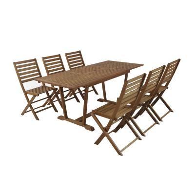 FINLANDEK HEIMO Ensemble 1 table de jardin avec rallonge 6 chaises ...