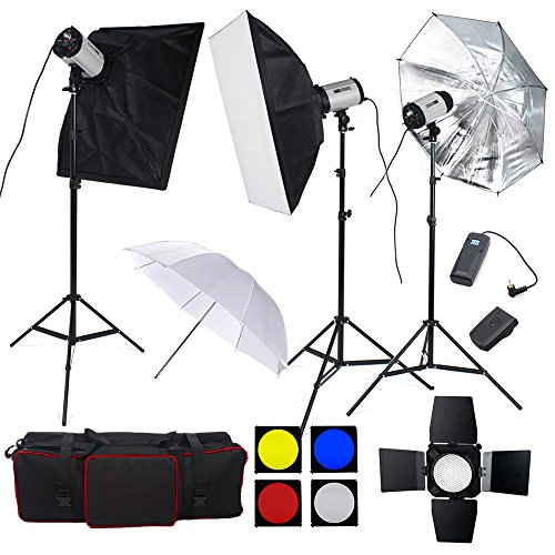 750W professionnel Kit Flash complet Kit d'éclairage Photo Studio --250W Têtes de Flash*3 pour photographique,Softbox 50×70cm,nid d'abeille,accessoires avec sac de transport