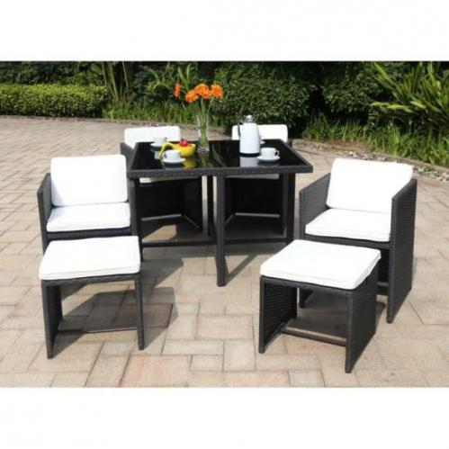 salon de jardin 1 table 4 fauteuils et 2 repose pieds en r sine tress e prix 285 95. Black Bedroom Furniture Sets. Home Design Ideas