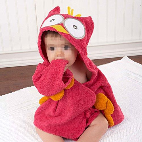 Vakind® Peignoir pour bébé 0-2 ans de style animé (hibou rouge)