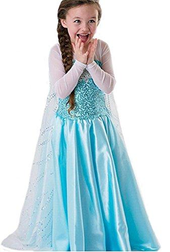 Robe Princesse Reine des Neiges Frozen - Costume Enfant Fille - Princesse Elsa - Déguisement Haute Qualité - Bleu - T. 116-122