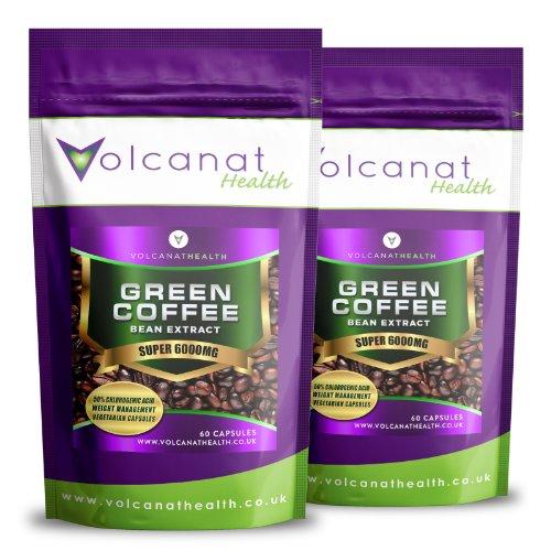 120 Grains de café vert Max 6000mg, emballage alu, HAUTE PERFORMANCE 50% CGA Volcanat complément de santé + conseils de régime