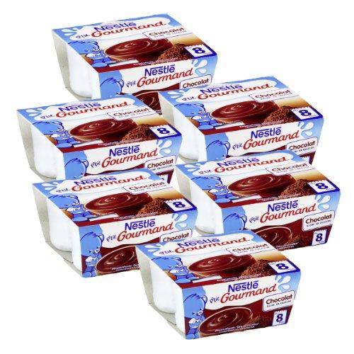 Bébé Nestlé P'tit Gourmand Chocolat - Laitage pour bébé dès 8 Mois - 4 x 100 g - Lot de 6 (24 Coupelles)