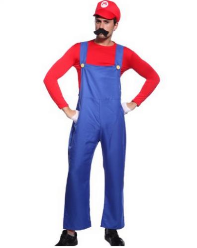 Costume Plombier Mario frere bros bleu Rouge super Déguisement Homme 80s plombier