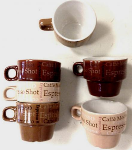 Lot de 6 tasses expresso encastrable avec anse Service a cafe