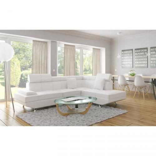 SCOOP Canapé d'angle droit cuir et simili 4 places - 178x182x88 cm - Blanc