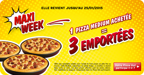 Pizza Hut : 1 pizza achetée = 2 offertes