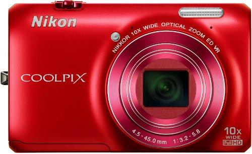 """Nikon Coolpix S6300 Appareil photo numérique compact 16 Mpix Ecran 2,7"""" Zoom optique 10x Rouge"""