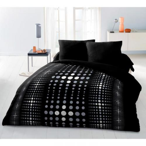 housse de couette microfibre steevy noir 220x240cm 2 taies. Black Bedroom Furniture Sets. Home Design Ideas