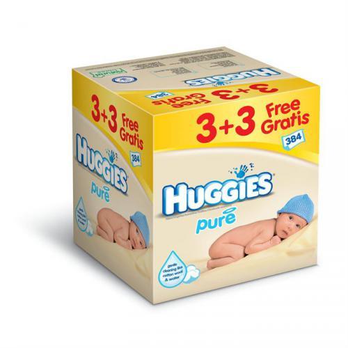 HUGGIES Lingettes Pure 3 3 Gratuit x64