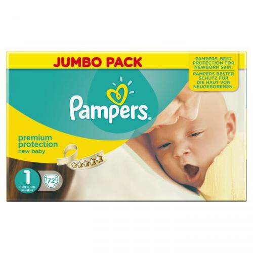 PAMPERS New Baby Taille 1 2 à 5kgs x72 couches format Jumbo