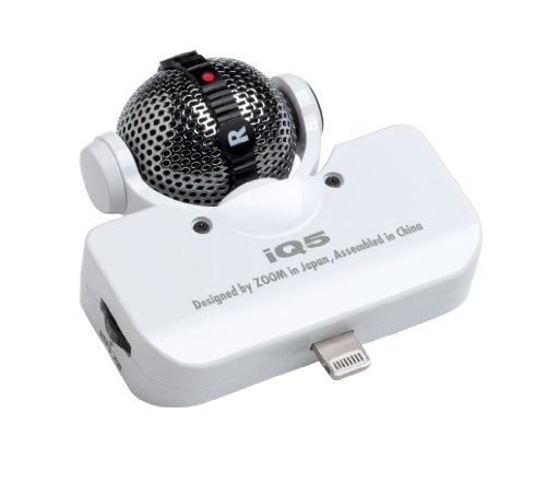 Zoom iQ5-WH Microphone Stéréo Mid-Side pour iPhone/iPad/iPod Blanc