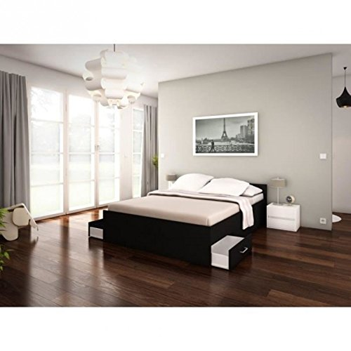 pop structure de lit adulte 2 tiroirs 140x200 noir prix 99 99. Black Bedroom Furniture Sets. Home Design Ideas