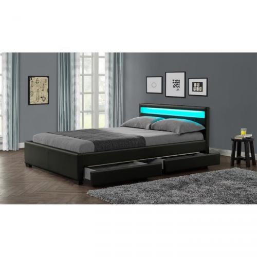 stellar lit adulte tiroirs led 140x190cm noir sommier inclus prix 299 99. Black Bedroom Furniture Sets. Home Design Ideas