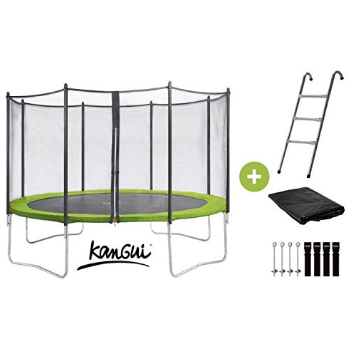 kangui trampoline twin duo 360 cm vert avec echelle kit d. Black Bedroom Furniture Sets. Home Design Ideas