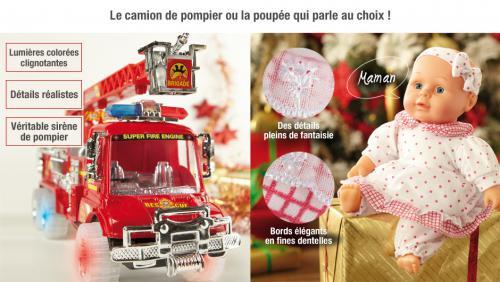 Camion de pompier lumineux ou la poupée qui parle