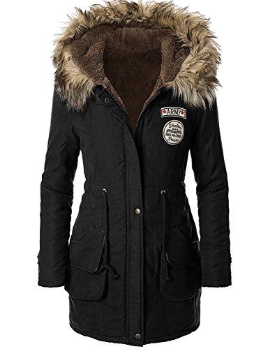 femme manteau fourrure hiver Parka a capuche Trench coat veste noir,FR 42 Etiquette 2XL