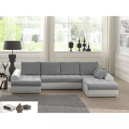 cloe canap d 39 angle convertible simili 8 places angle panoramique 320x186x85 cm gris clair. Black Bedroom Furniture Sets. Home Design Ideas