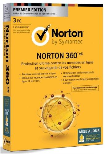 Norton 360 V6 - premier édition - mise à jour (3 postes, 1 an)