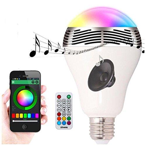 TKOOFN Ampoule LED E27 RGB Bluetooth 5.0 Stéréo Audio 20W Avec Télécommande 20 Touches Argent