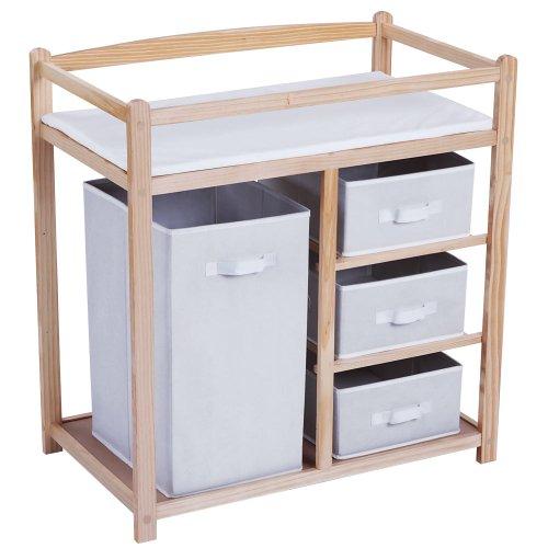 Table à langer - 1 grande boîte - 3 petits tiroirs - en bois - avec coussin à langer en mousse - 85 x 79 x 46 cm (H x l x P)