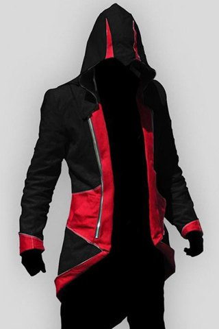 Veste à capuche Color Block Splicing Assassin Creed manches longues Cosplay Hommes