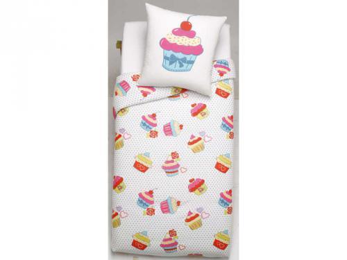 Cupcake parure housse de couette 140x200 cm 1 taie d for Housse de couette junior