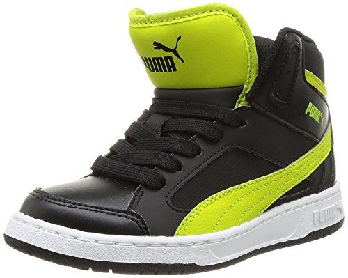 Puma Rebound V2 Hi 356808/01, Baskets mode garçon - Noir (Black/Sulphur Spring), 35 EU