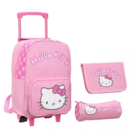 HELLO KITTY sac à dos roulettes Set 3 pièces Fille