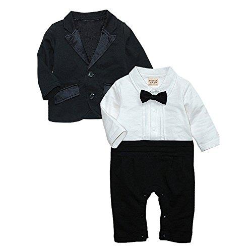 a9ace602e479b ZOEREA 2 pcs Petits Bébé Garçon Baptême Costume Barboteuse Enfant manteau  de combinaison à manches longues