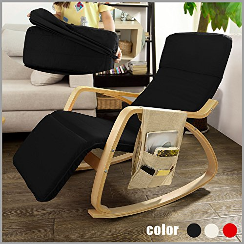 SoBuy FST16-Sch Rocking Chair, Fauteuil à bascule avec repose-pieds réglable design, Fauteuil berçante, Fauteuil relax, Bouleau Flexible (Noir) + une pochette latérale gratuite !