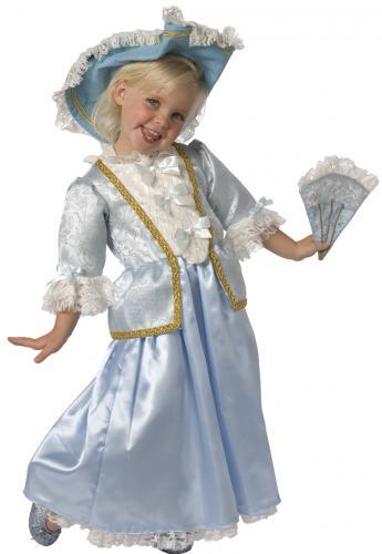 Déguisement princesse renaissance enfant fille bleu et dentelle