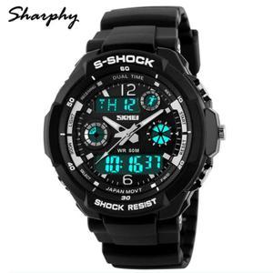 SHARPHY® Sport Montre Homme de Marque S-SHOCK Numérique Analogique LED Watch étanche Noir Meilleur Qualité et jolie