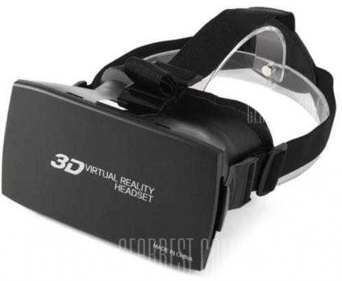 3D Virtual Reality Headset Phone 3D Glasses  -  BLACK
