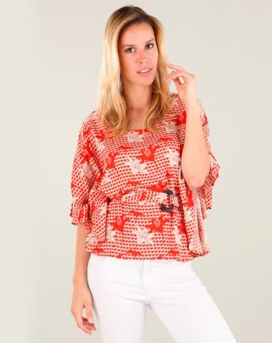 La fiancee du mekong Blouse papillon orange