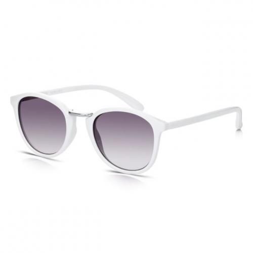 Sunglass junkie pour femme Blanc Rétro Ronde Lunettes de soleil