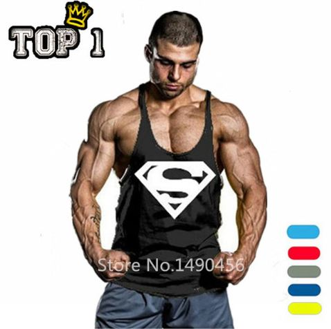 Superman Gym Singlets Mens Tank Tops Shirt,Bodybuilding Equipment Fitness