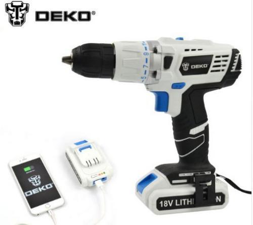DEKO 18 V DC Nouveau Design Mobile Alimentation Au Lithium Batterie Marteau Perceuse sans fil Outils Électriques Impact Perceuse Électrique
