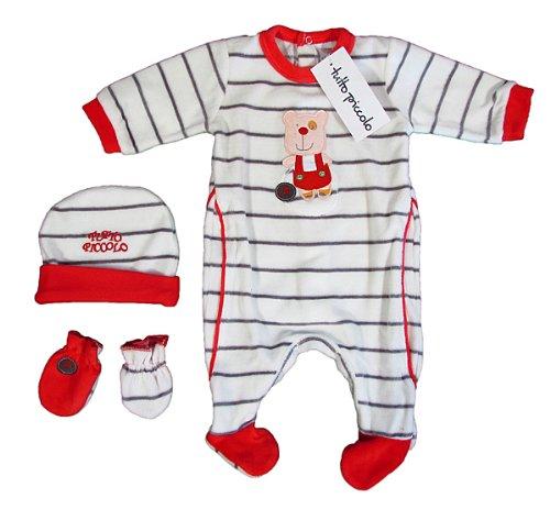 """TUTTO PICCOLO """"Funny Bear"""" mixte bébé ensemble grenouillère bonnet gants rayures velours (blanc/rouge)"""