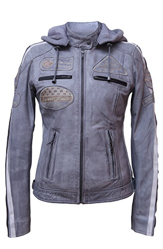 Urban Leather UR de 161 Femme Veste de moto avec protections, gris, grand?: M