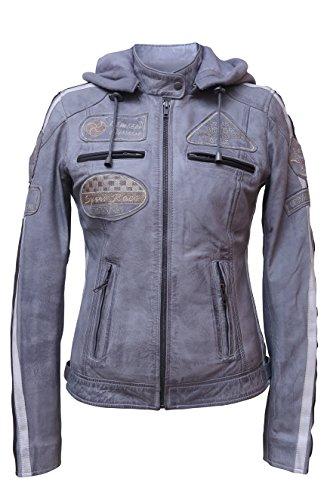 Urban Leather UR de 161Femme Veste de moto avec protections, gris, grand?: M