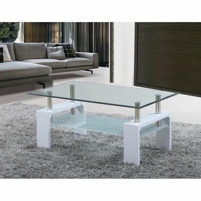 SOFIA Table basse laquée blanche à plateau verre