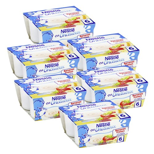 Bébé Nestlé P'tit Onctueux Bananes Fraises - Laitage pour bébé dès 6 Mois - 4 x 100 g - Lot de 6 (24 Coupelles)