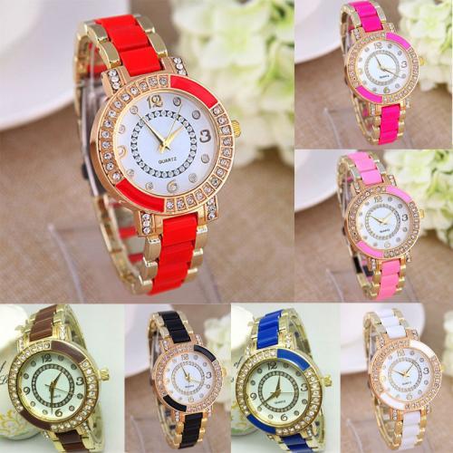 Womens Fashion Luxury Ceramic Crystal Rhinestone Quartz Wrist Watch