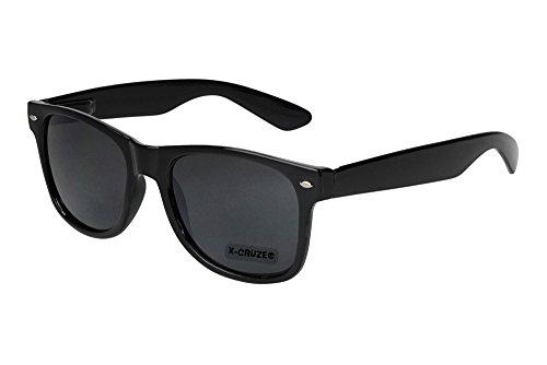 X-CRUZE® - Lunettes de soleil unisexe, femmes, hommes - Style Nerd, Wayfarer, Rétro, Vintage - Noir